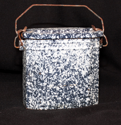 French dark blue enamelware graniteware lunch box-1