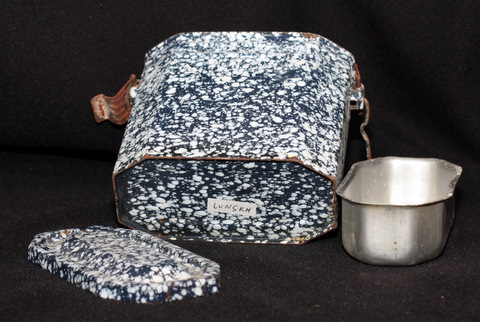 French dark blue enamelware graniteware lunch box-3