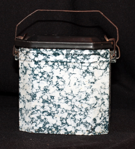 French dark green enamelware graniteware lunch box-0