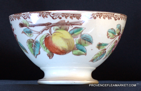 Beautiful apple pattern french vintage bowl cafe au lait-0