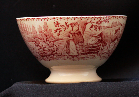 French red vintage Moulin des Loups bowl cafe au lait-1