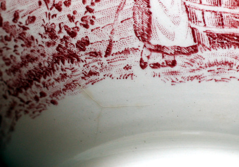 French red vintage Moulin des Loups bowl cafe au lait-4