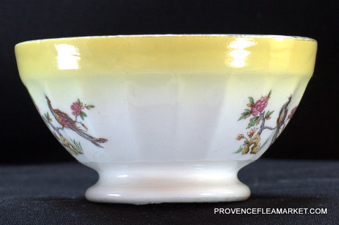 French Digoin yellow bird vintage bowl cafe au lait-2