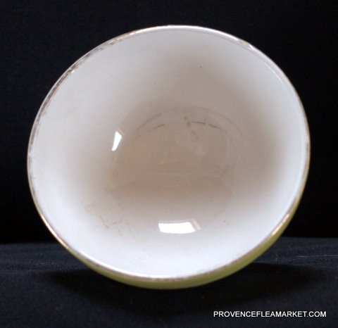 French Digoin yellow bird vintage bowl cafe au lait-3