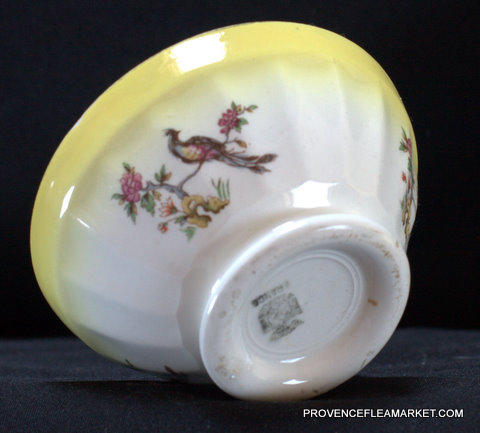 French Digoin yellow bird vintage bowl cafe au lait-4