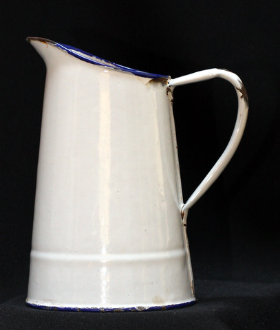 French vintage classic white enamelware graniteware water pitcher-0